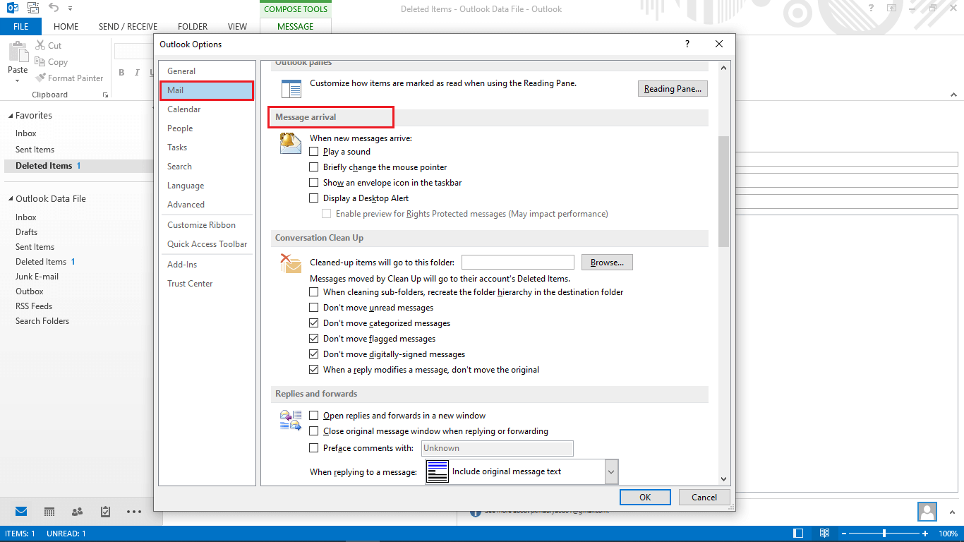 Outlook Mail Section Disable