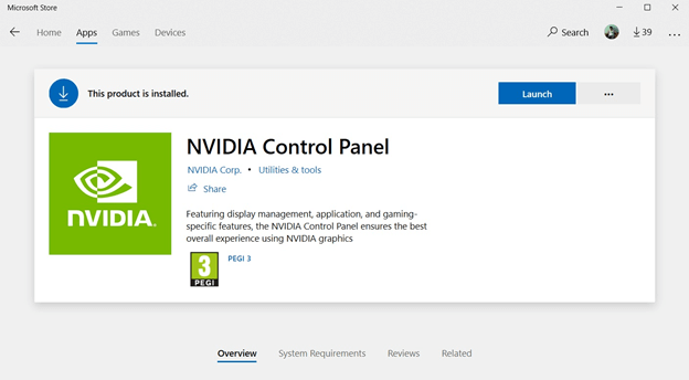 Reinstall the Nvidia Control App
